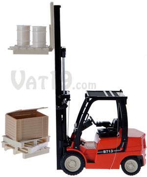 R/C Forklift with Shelving, Pallets, Drums, and Crates